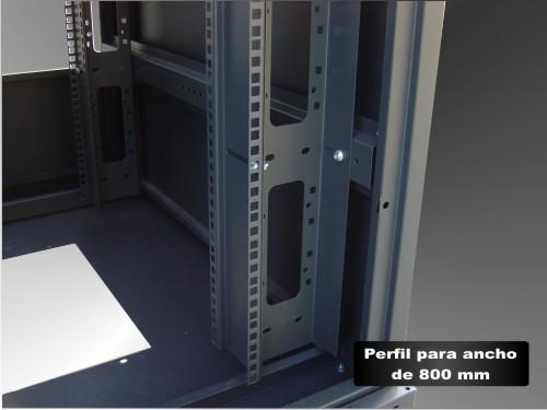 "Armario rack 19"" detalle perfiles ancho 800mm"