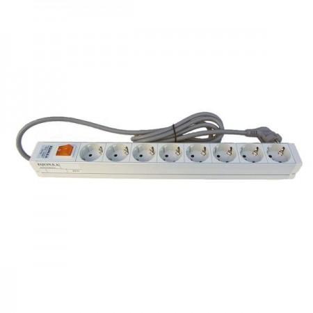 Regleta electrica para rack, 8 Schuko + interruptor