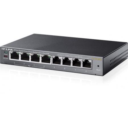 Switch TP-Link 8 puertos Easy Smart Gigabit 10/100/1000 con 4 POE