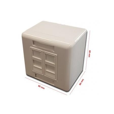 Caja de superficie 80 x 80 2 x RJ45 tipo Keystone