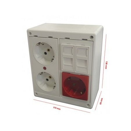 Caja de superficie 2 x RJ45 tipo Keystone con 2 + 1 Schuko