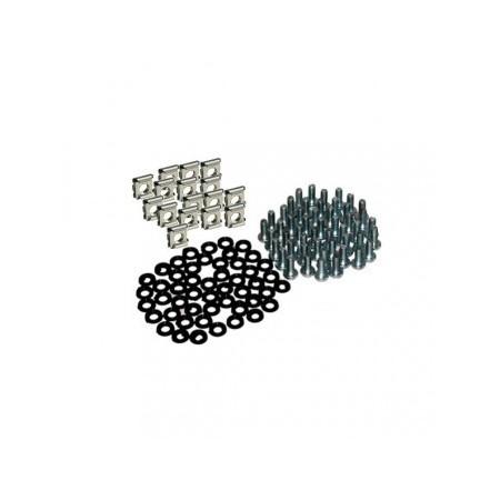 Grupo fijación tornillo, tuerca enjaulada y arandela Rack 19 Kit 100 unds
